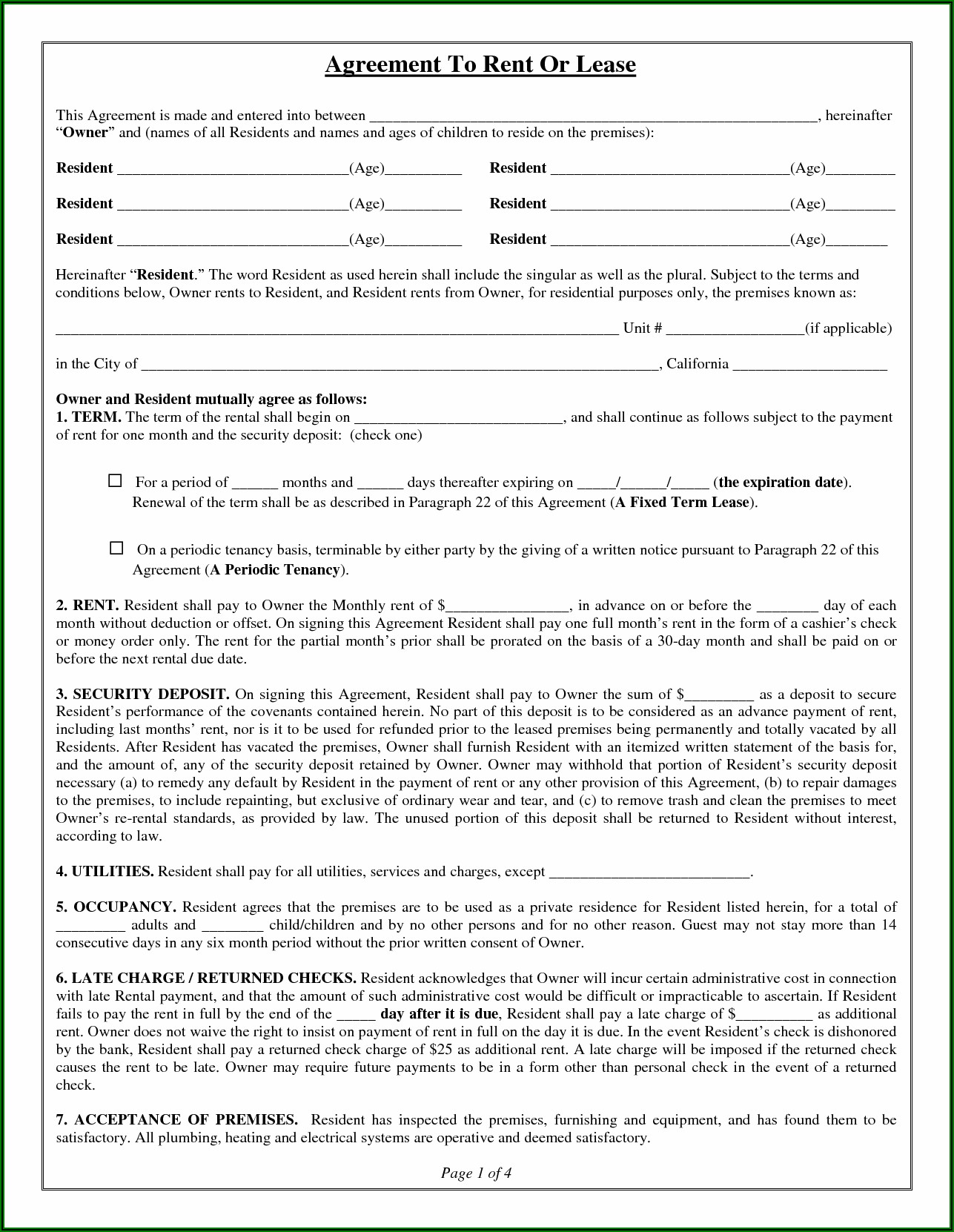 Room Rental Lease Agreement Template Free