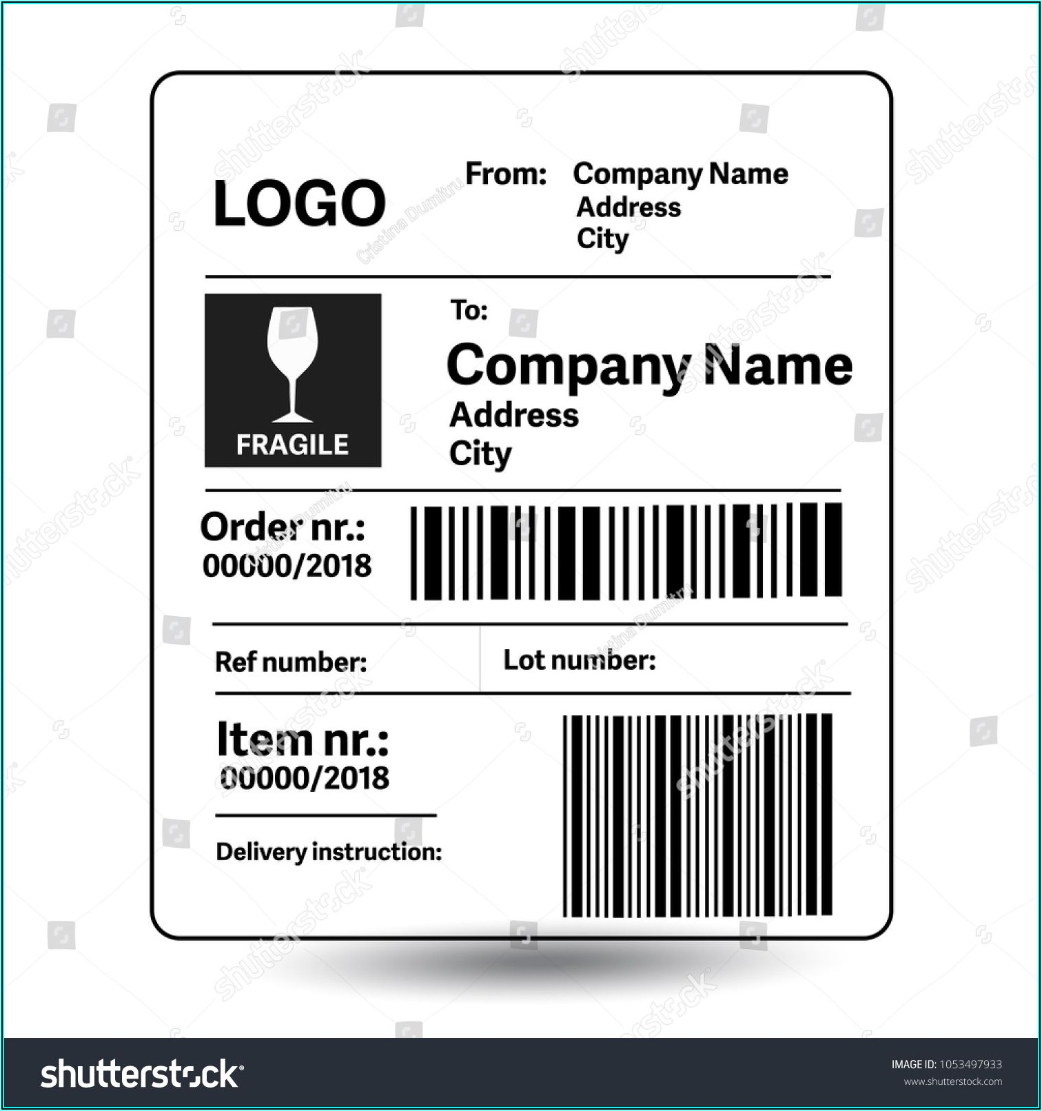 Shipping Mailing Label Template
