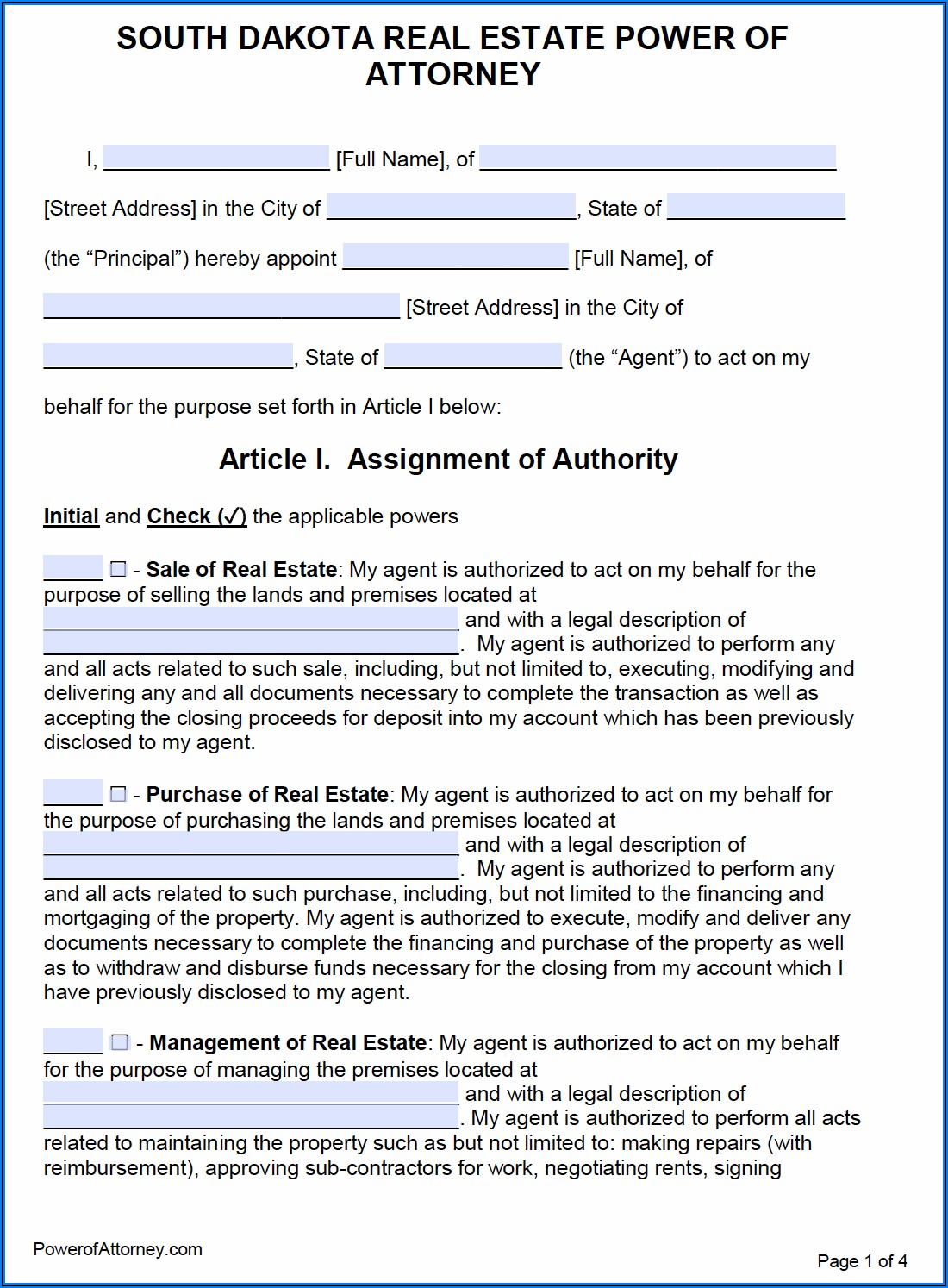 South Dakota Power Of Attorney Form