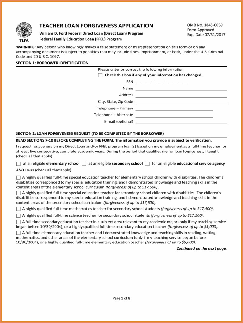 Student Loans Deferment Form Download