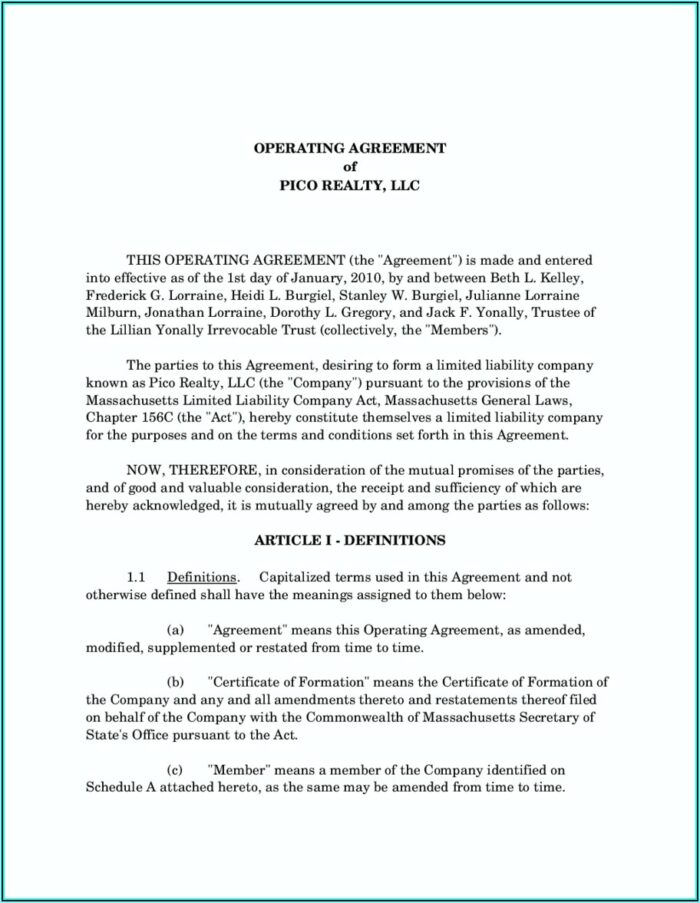 Template For Llc Operating Agreement