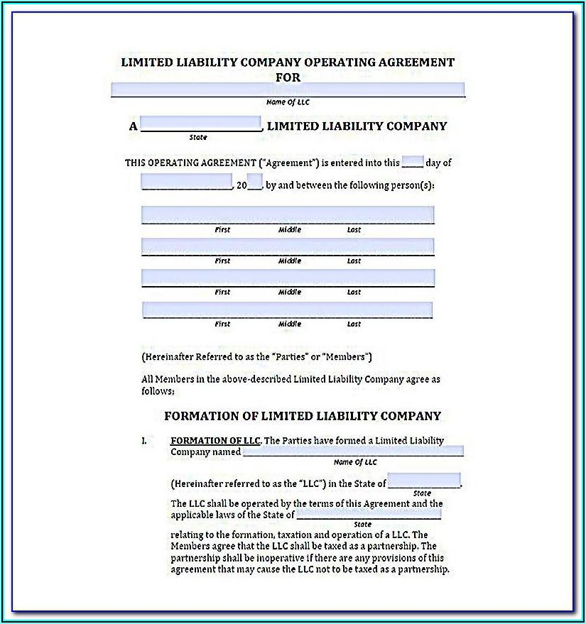 Template Llc Operating Agreement Member Managed