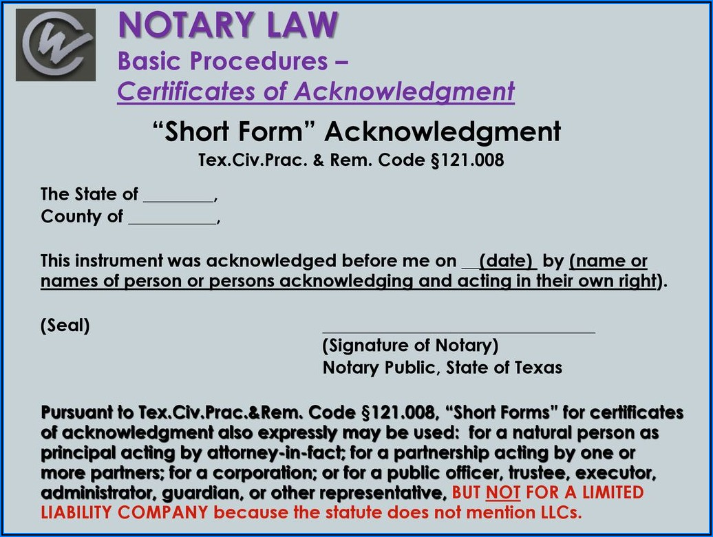 Texas Notary Acknowledgment For Llc