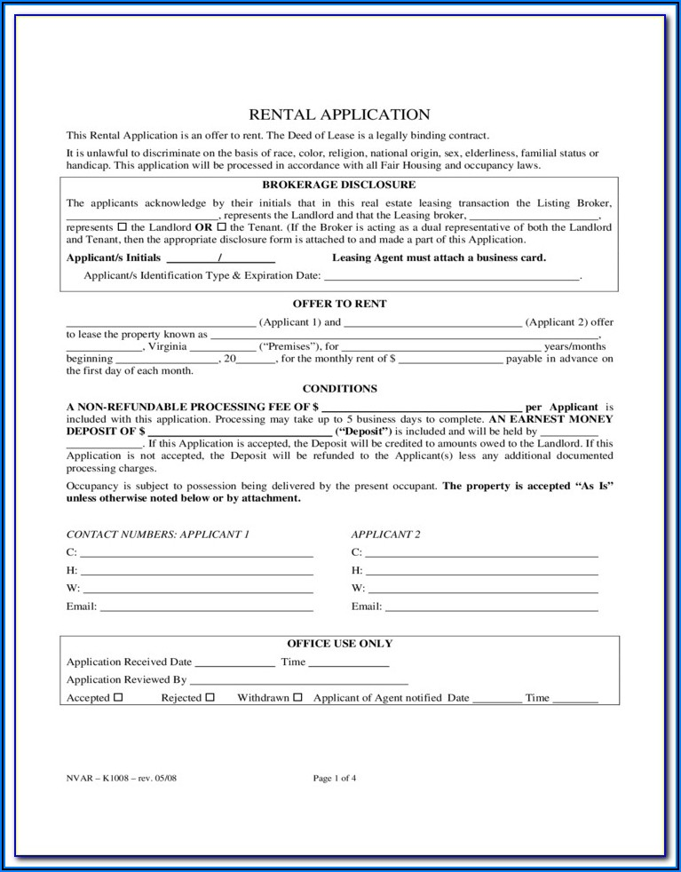 Virginia Rental Application Form