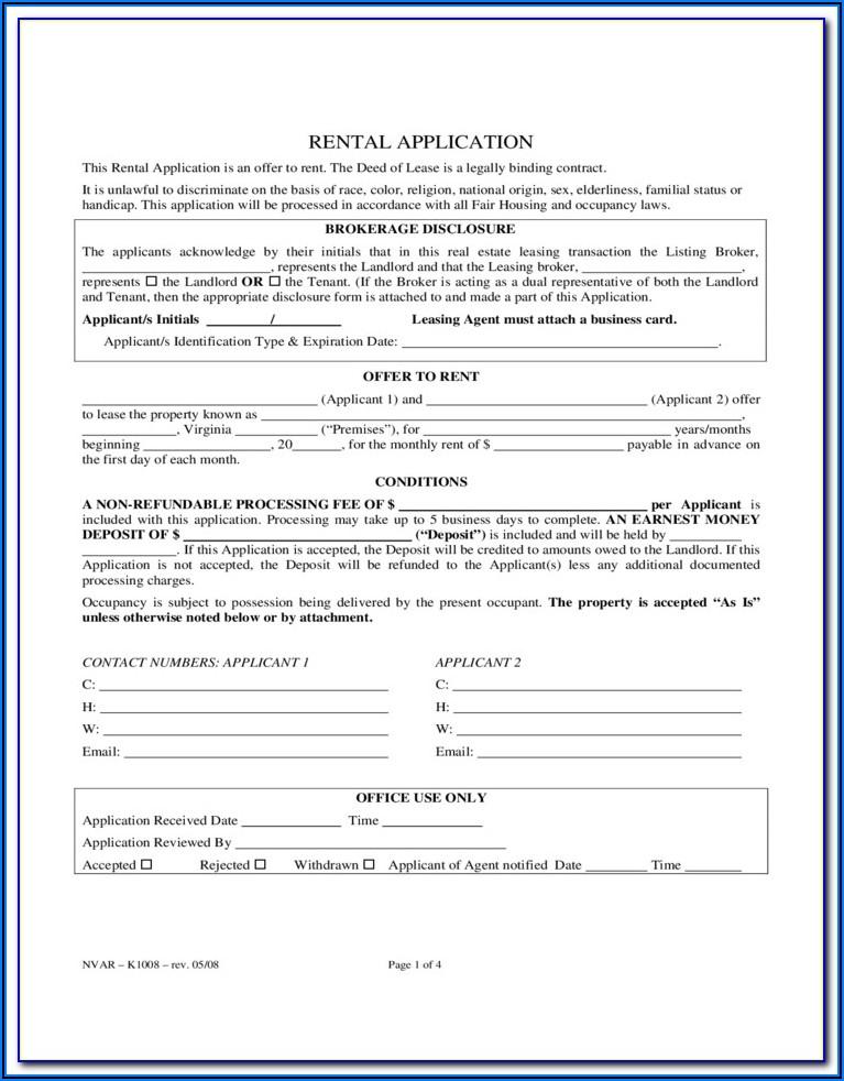 Virginia Rental Application Form