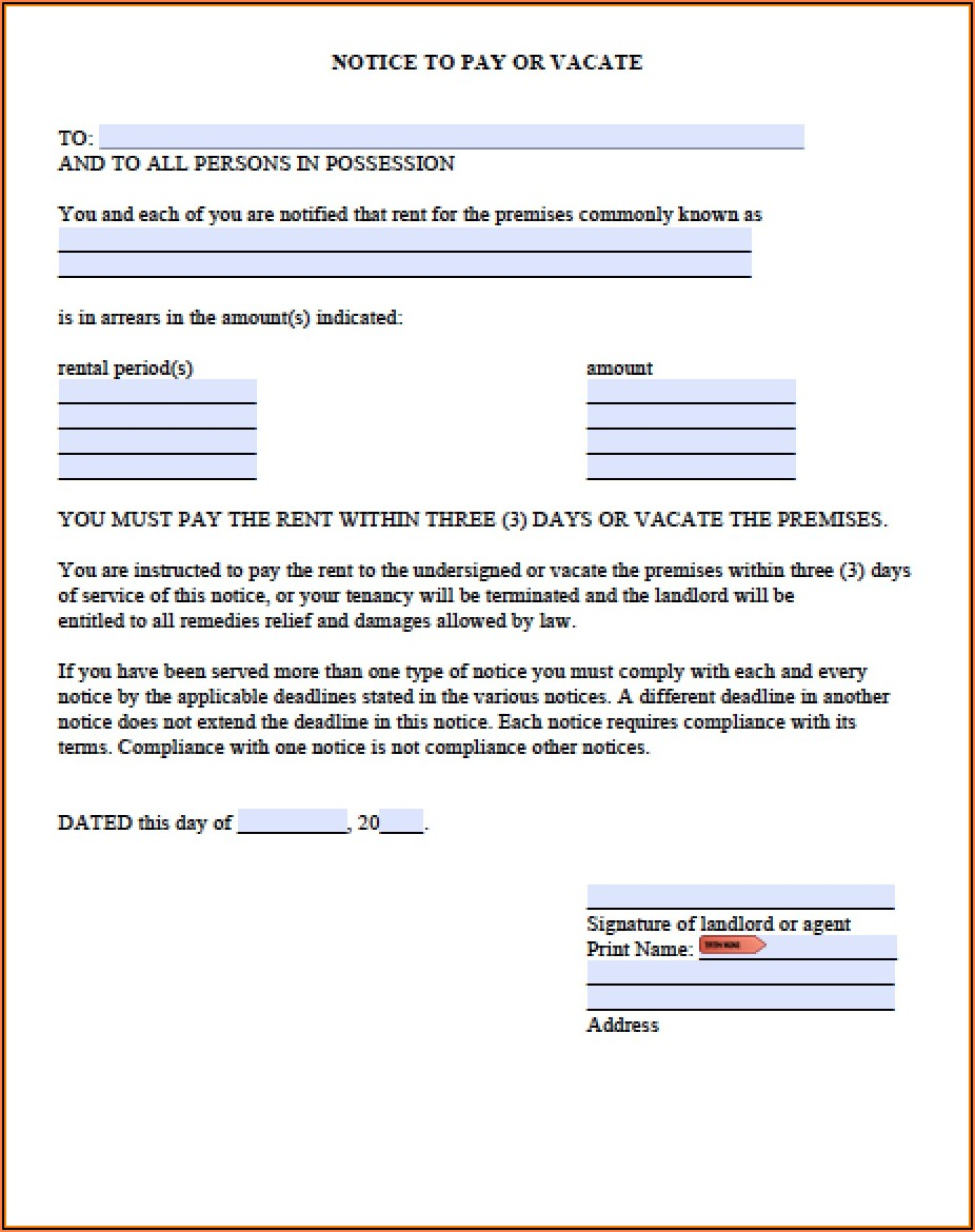Wa State 20 Day Notice To Vacate Form