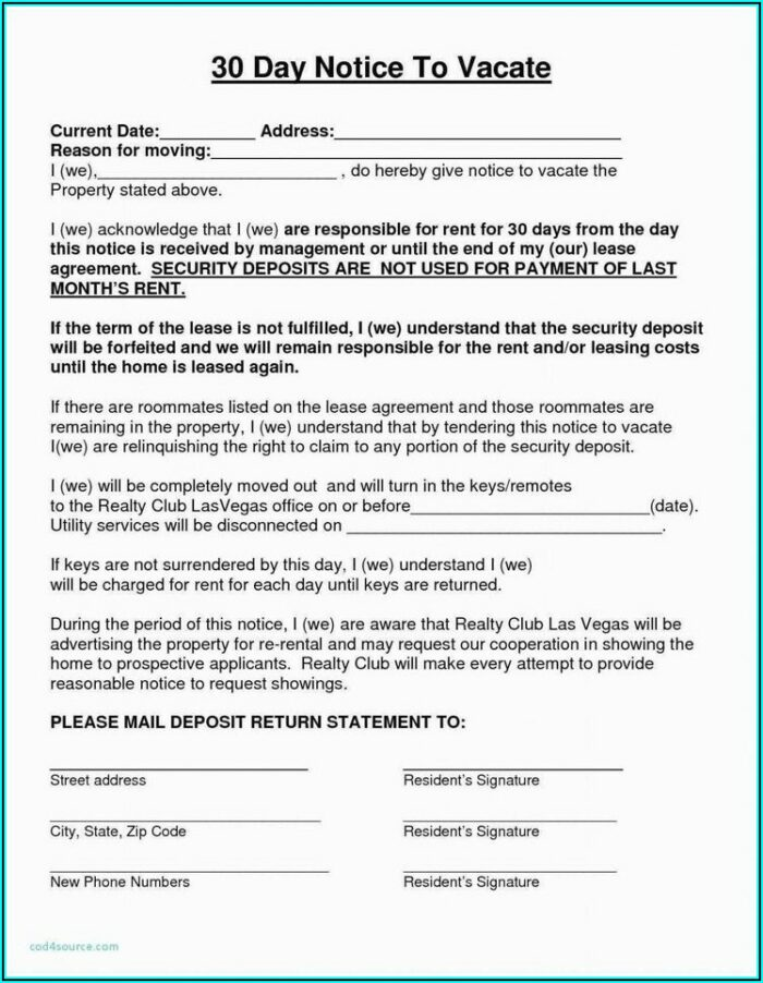 30 Day Notice To Vacate Template Free