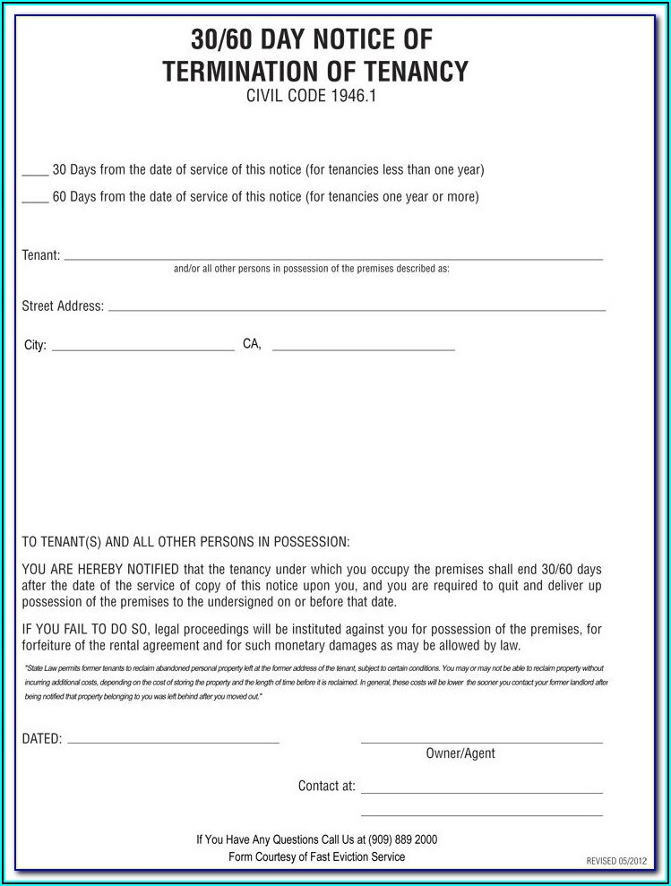 60 Day Eviction Notice Ontario Template