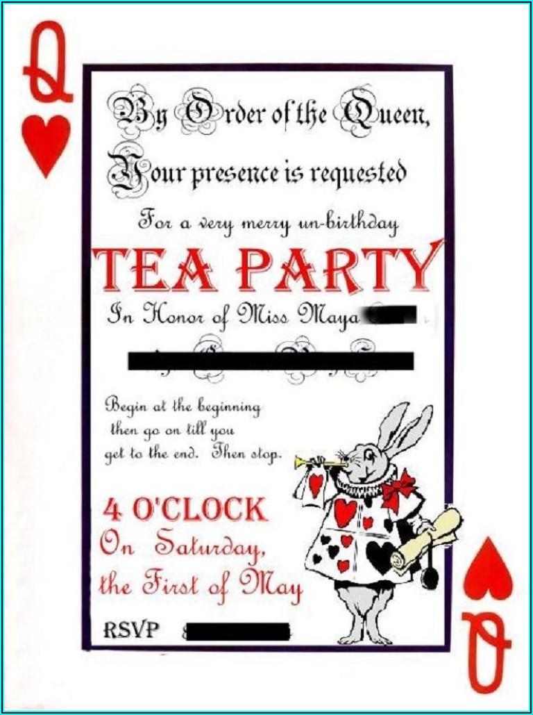 Alice In Wonderland Tea Party Invitation Template Free
