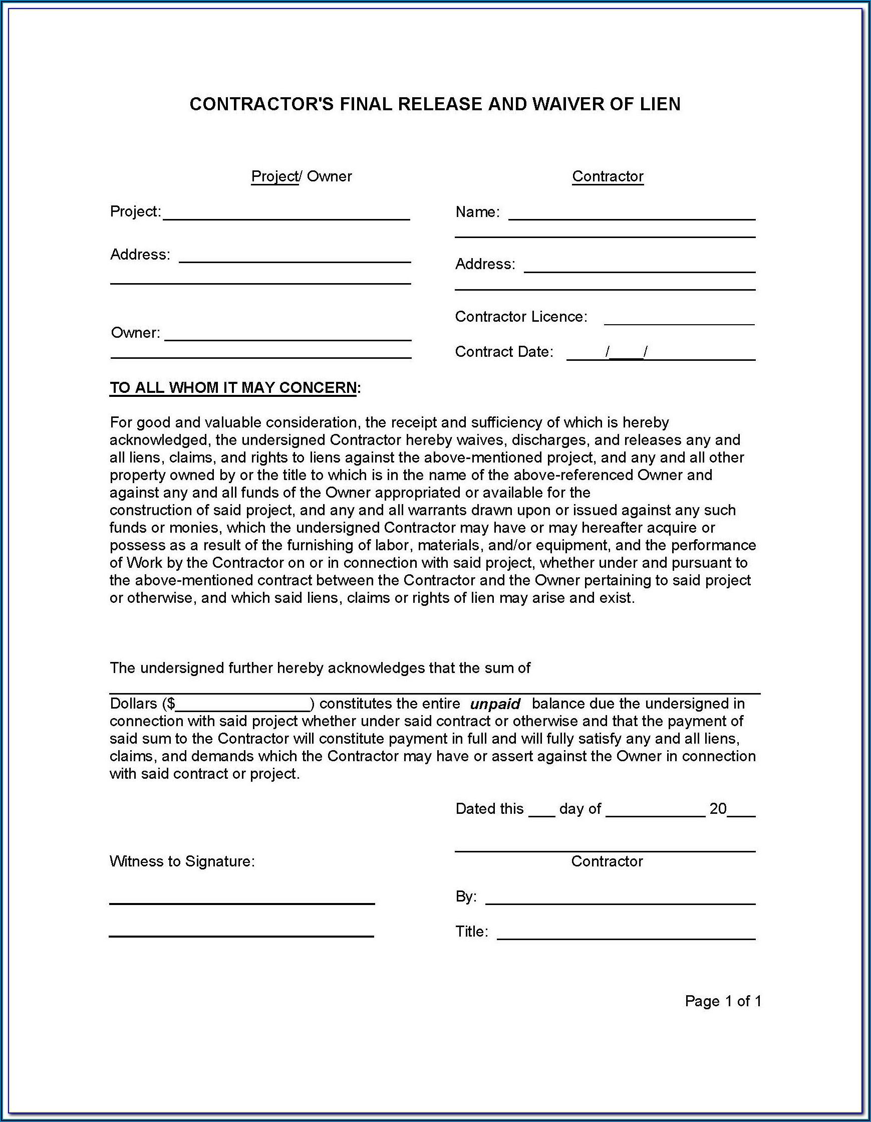 Arizona Mechanic's Lien Waiver Form