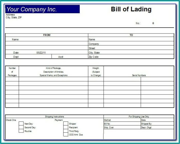 Auto Transport Bill Of Lading Template Free