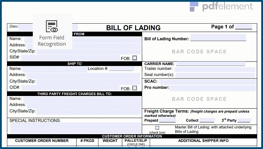 Bill Of Lading Form Download