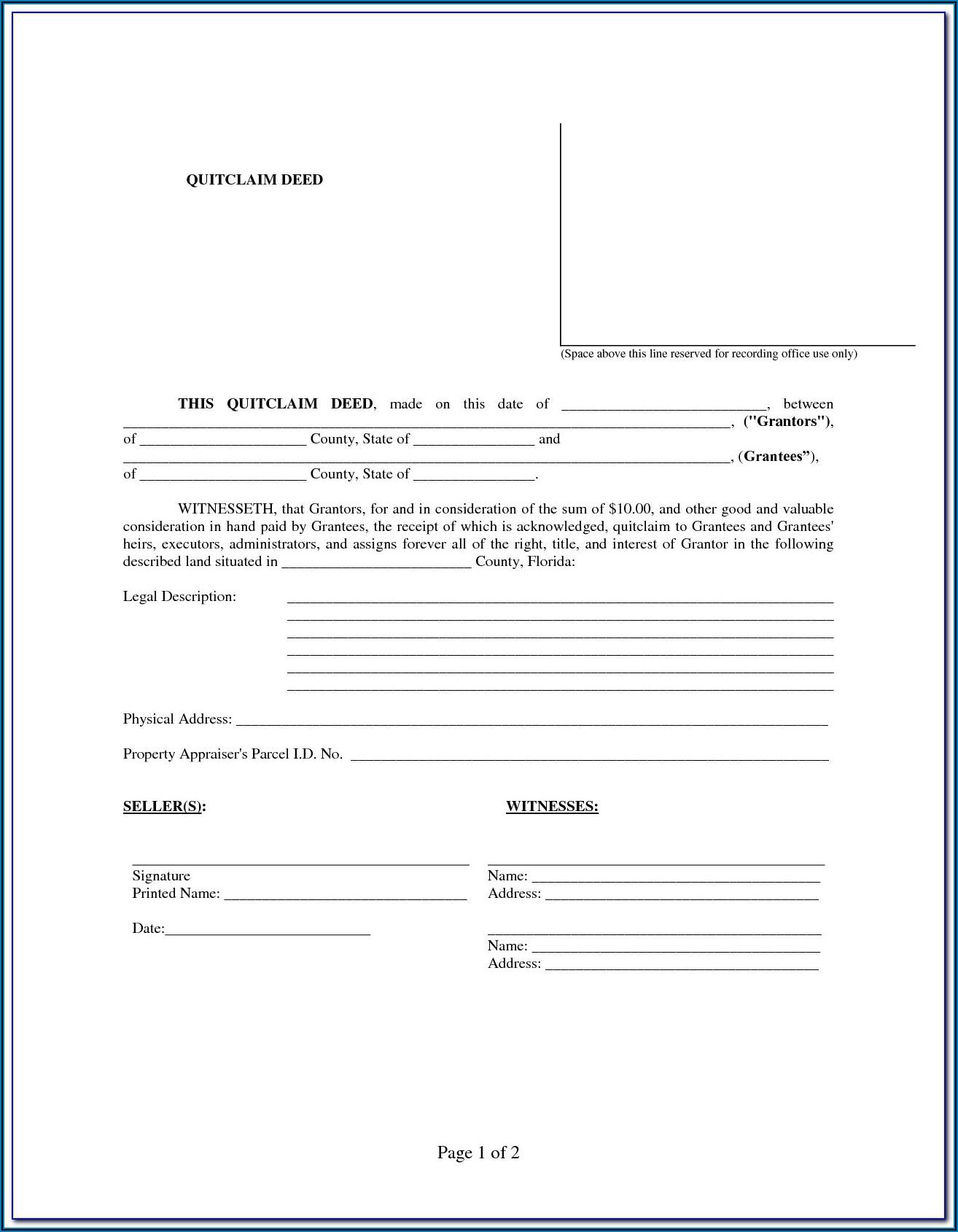 Blank Quit Claim Deed Form Florida