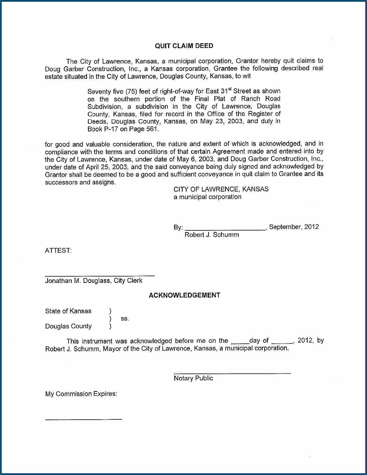 Blank Quit Claim Deed Form Kansas