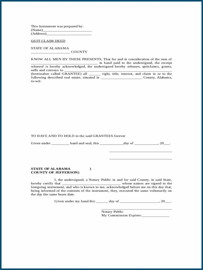 Blank Quit Claim Deed Form North Carolina