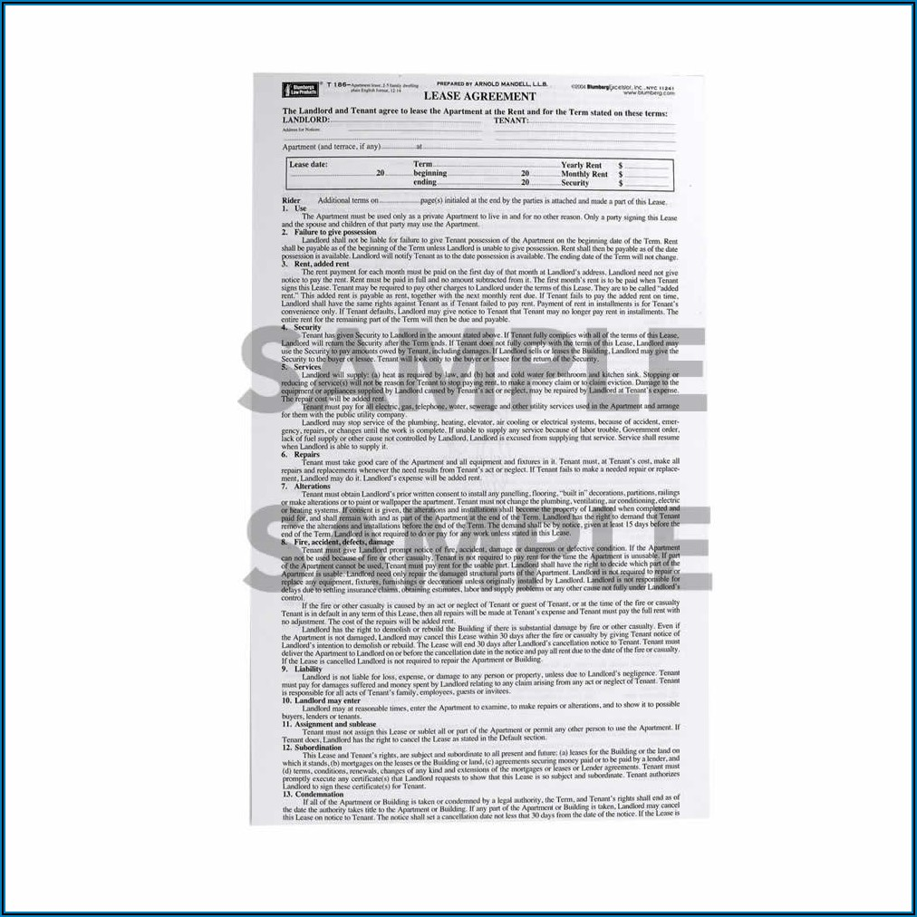 Blumberg Lease Form 186