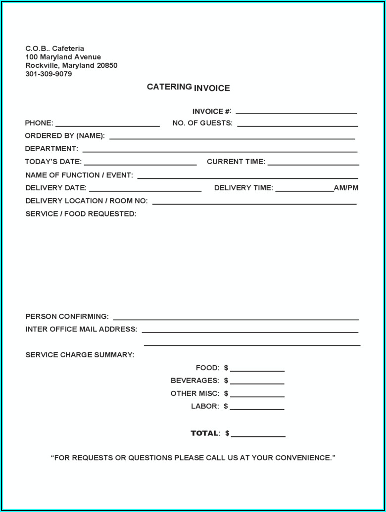 Catering Invoice Template Free