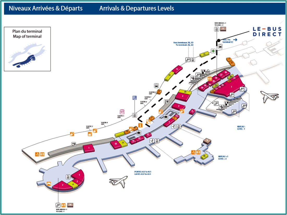 Charles De Gaulle Airport Terminal 2c Map