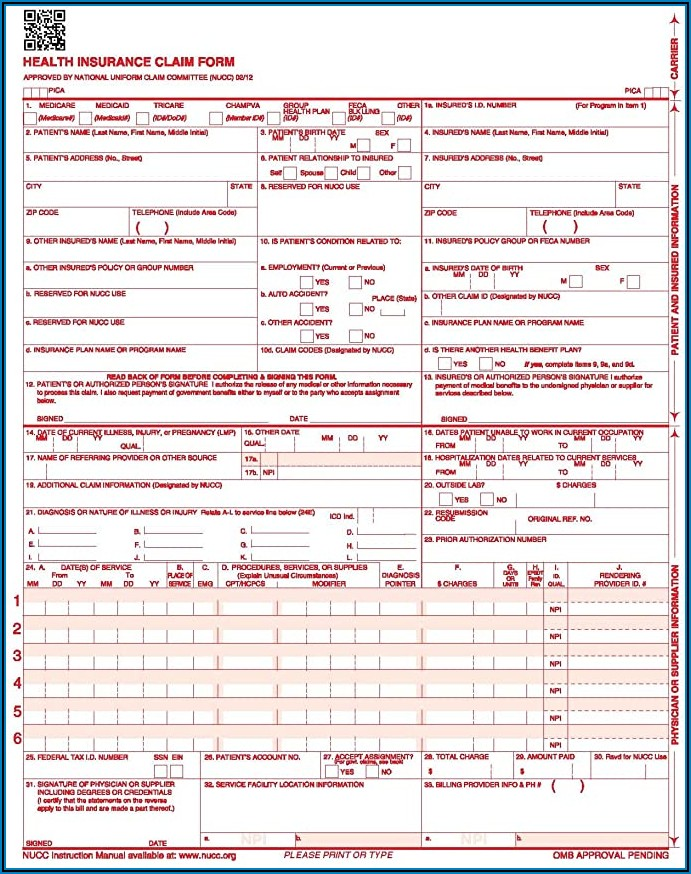 Cms 1500 Claim Form Description