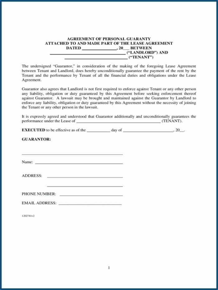 Commercial Lease Personal Guarantee Form