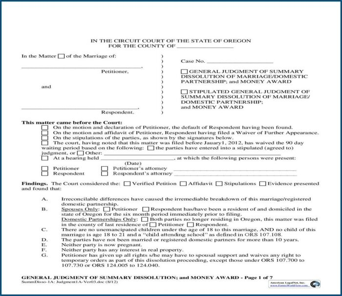Domestic Partnership Forms Oregon