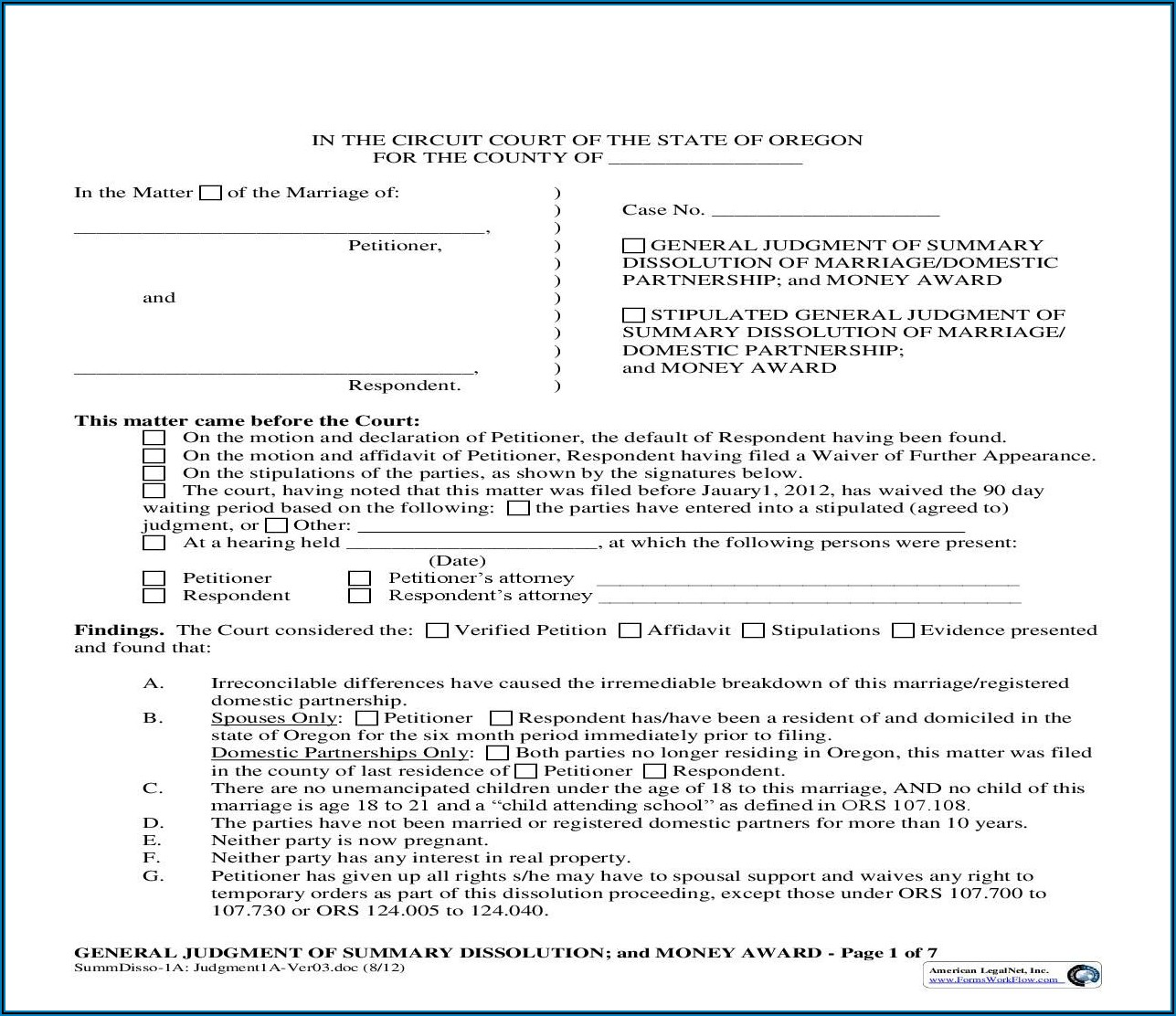 Domestic Partnership Forms Oregon