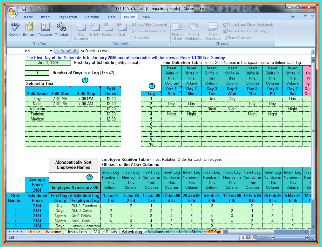 Employee Schedule Spreadsheet Template