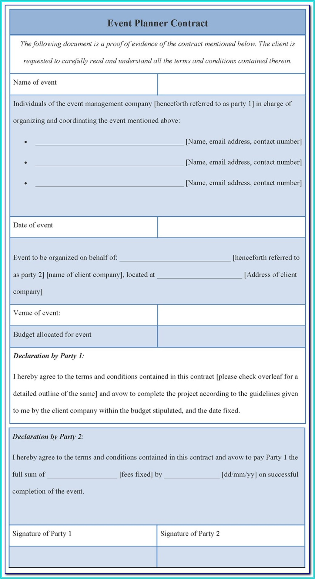 Event Planning Contract Examples