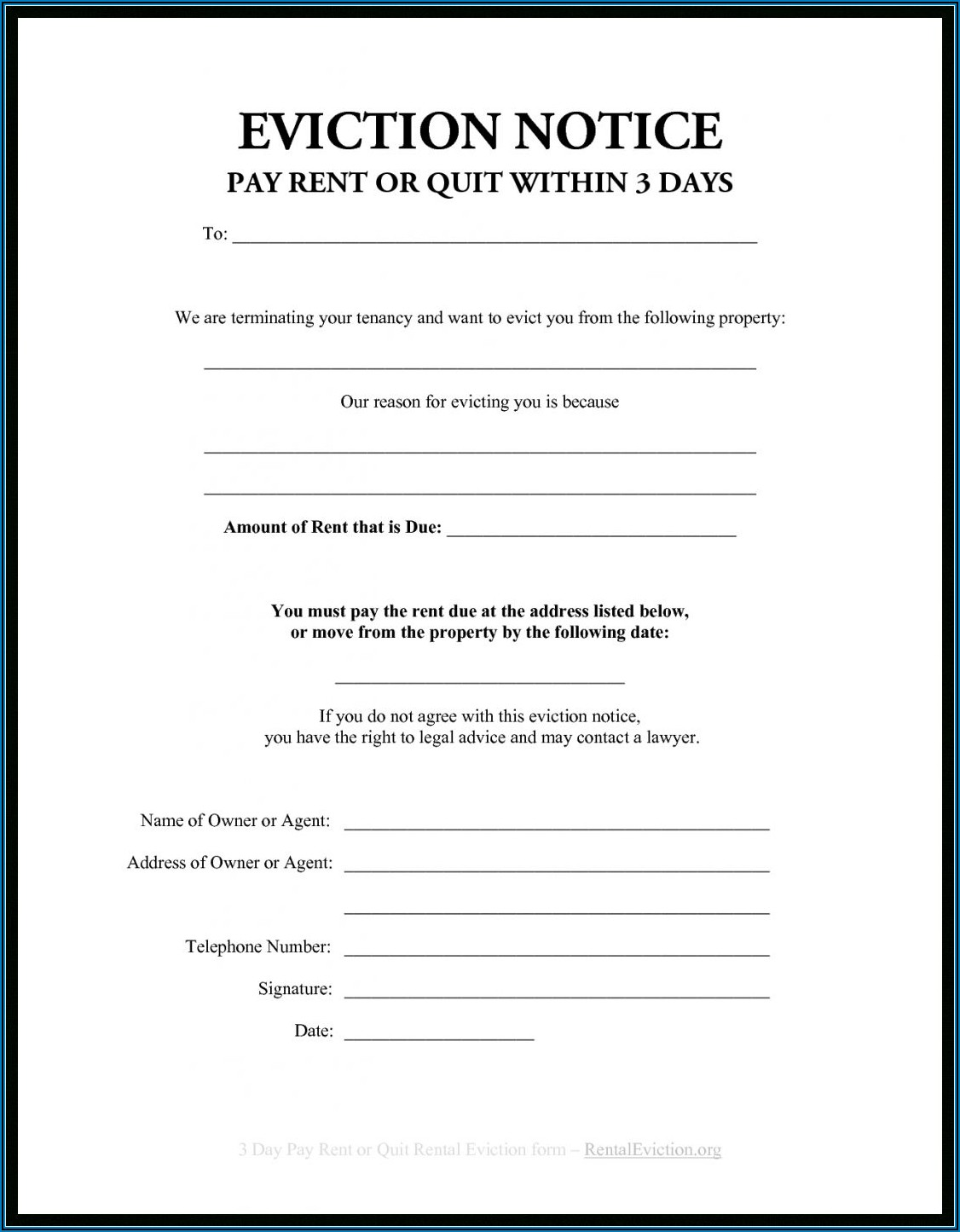 Eviction Notice Form In Spanish