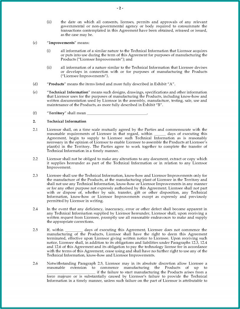 Exclusive Patent License Agreement Template