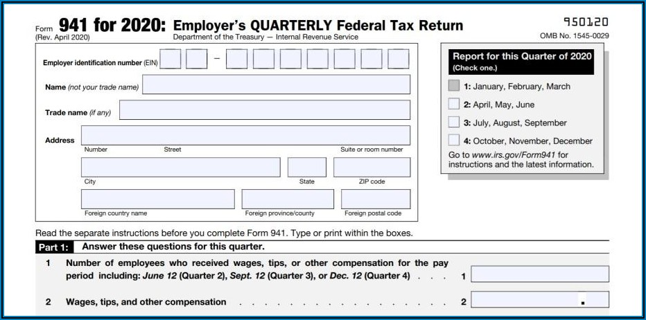 Federal Tax Form 941 For 2020