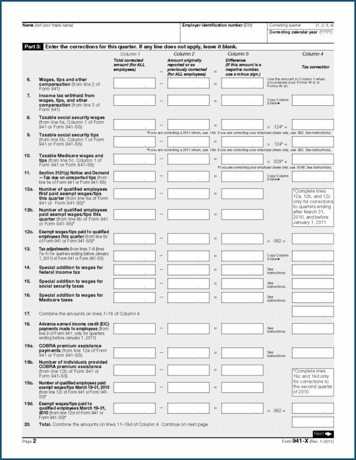 Federal Tax Form 941 X