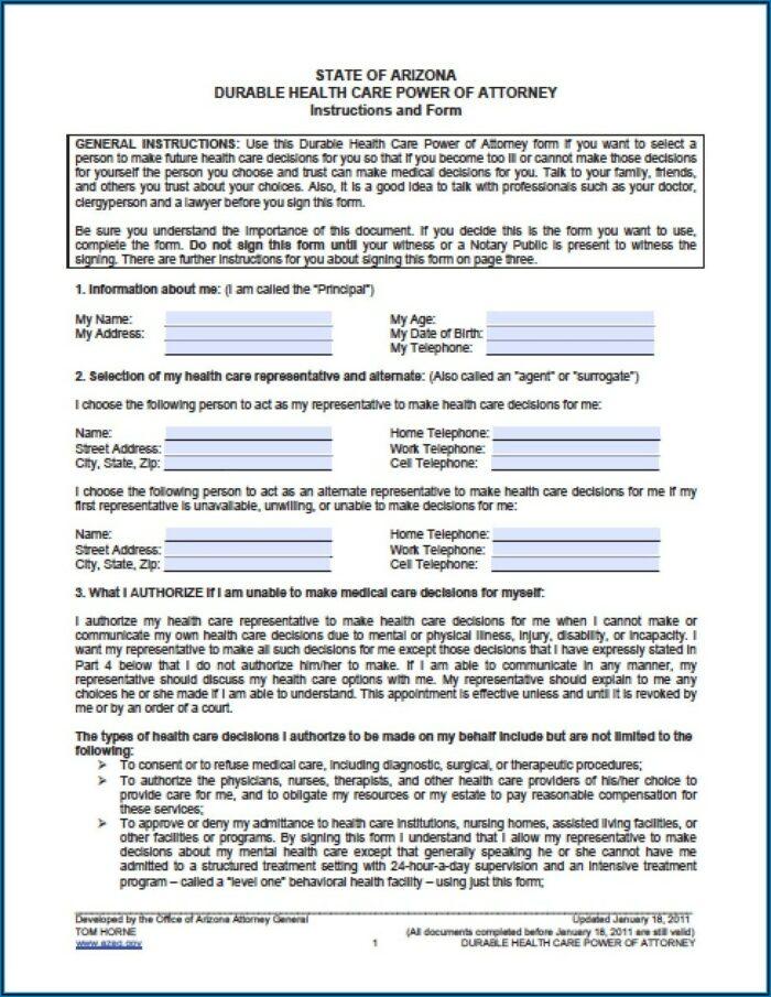 Financial Durable Power Of Attorney Form Arizona