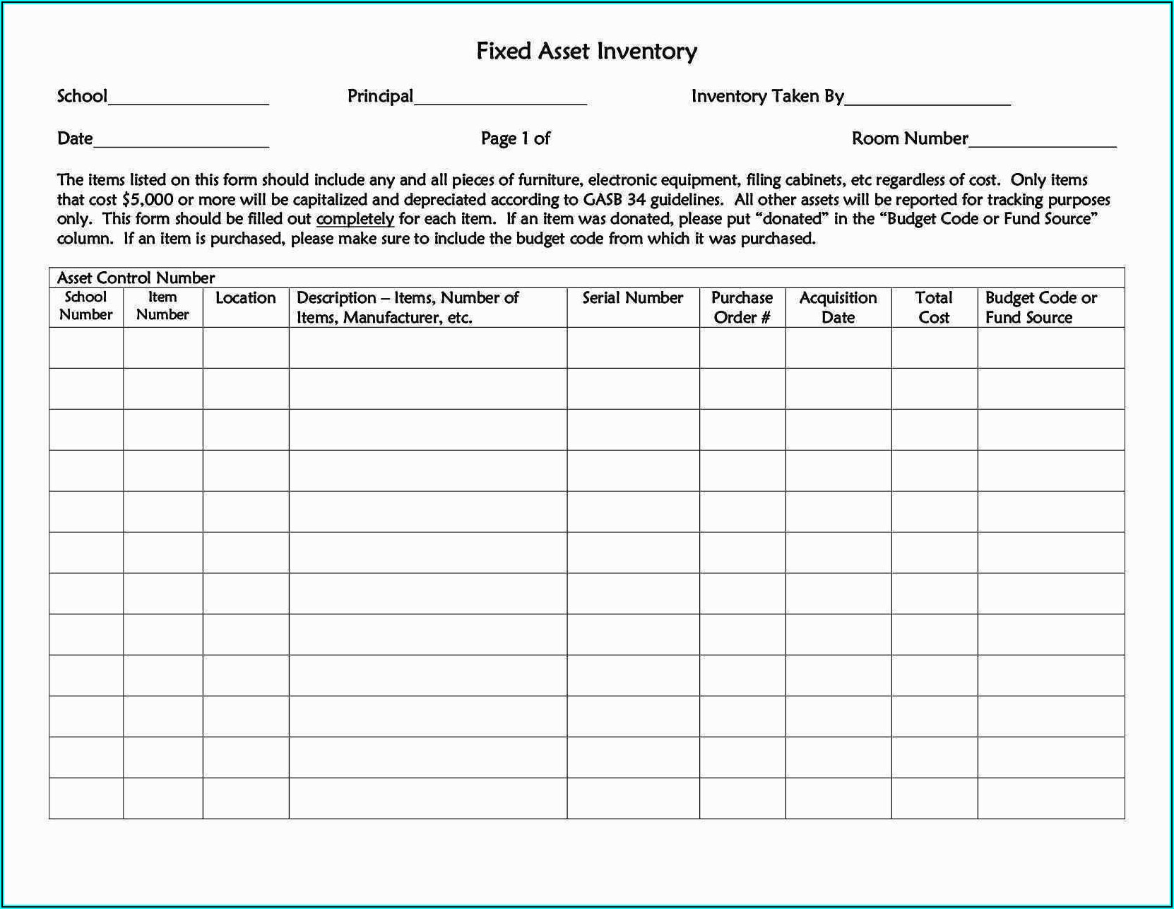Fixed Asset Inventory Excel Template