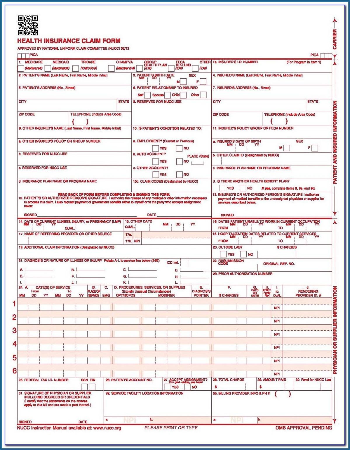 Form 1500 Fillable Pdf
