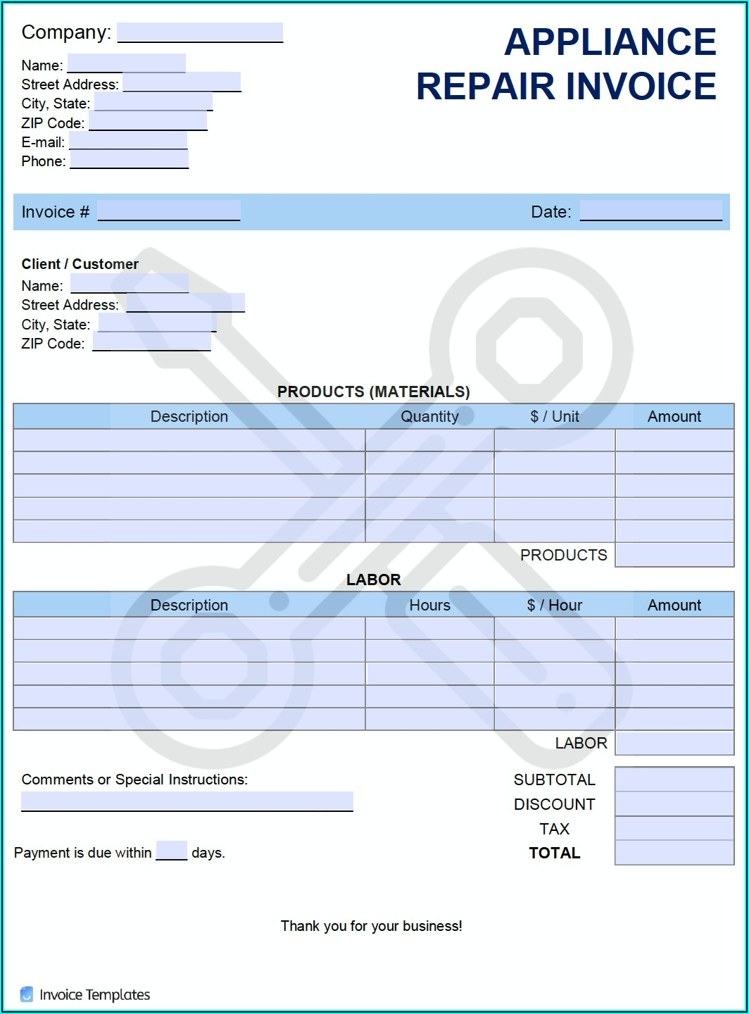 Free Appliance Repair Invoice Template