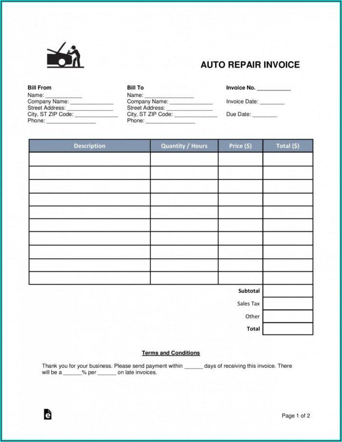 Free Auto Repair Invoice Template Word