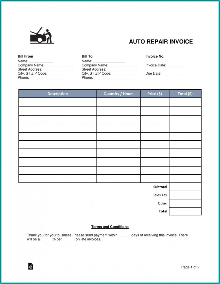 Free Auto Repair Invoice Template Word