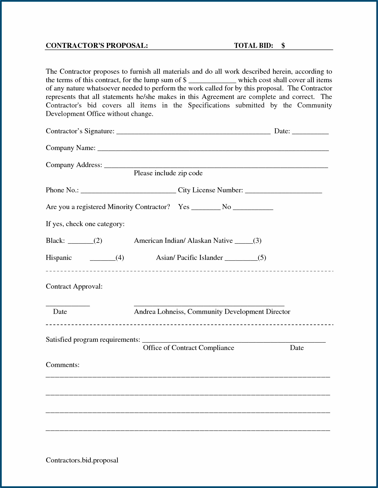 Free Business Proposal Forms
