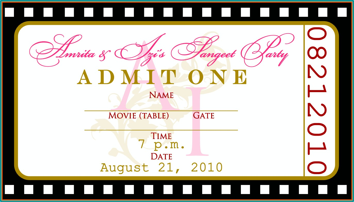 Free Concert Ticket Template Printable