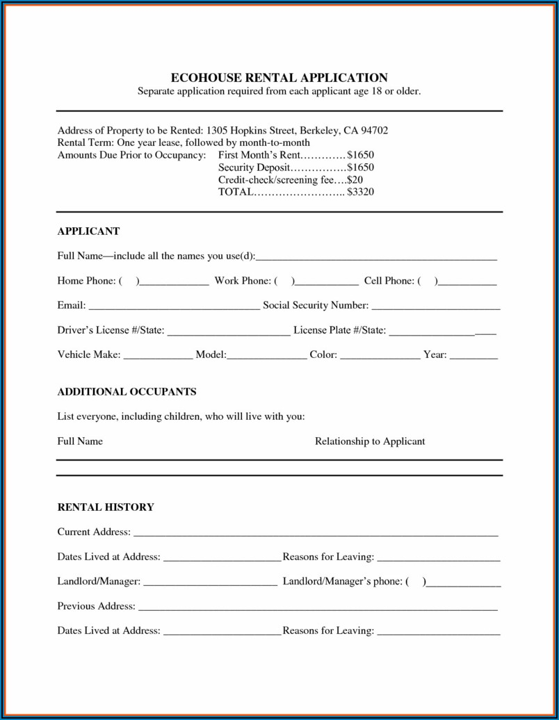 Free House Lease Agreement Form