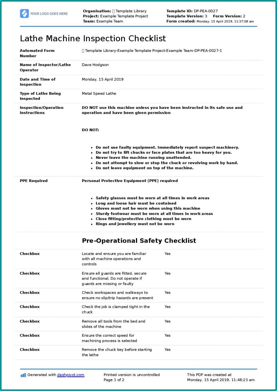 Free Inspection Report Template Word