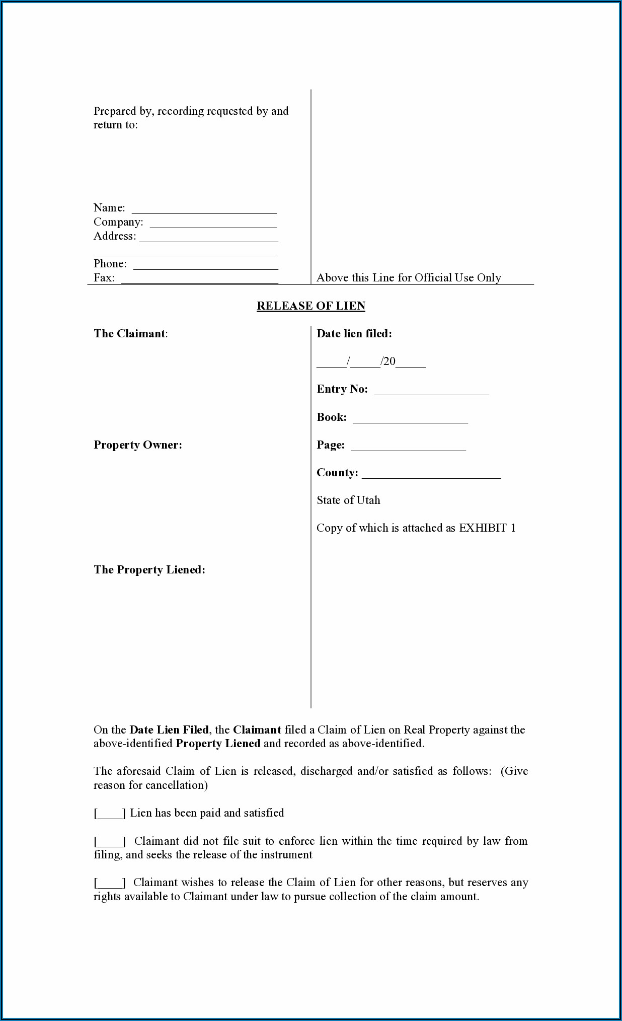 Free Mechanics Lien Form Utah