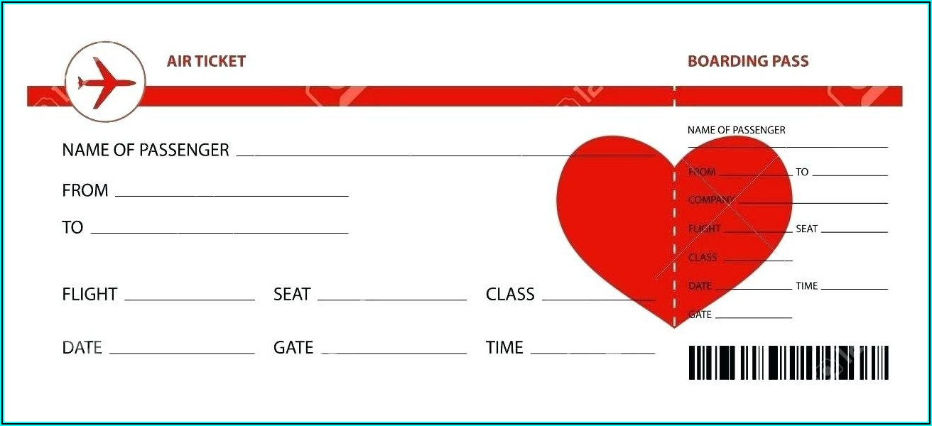 Free Plane Ticket Template Printable