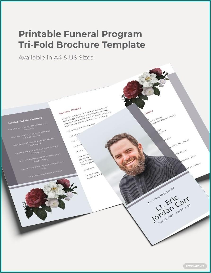 Free Printable Tri Fold Funeral Program Template