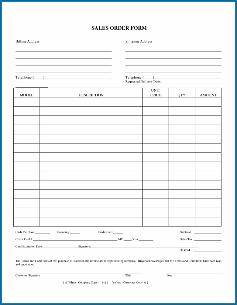 Free Sales Order Form Template