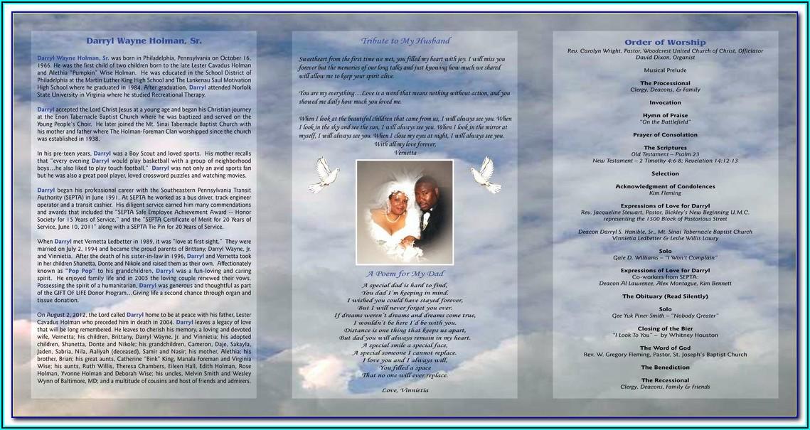 Free Tri Fold Funeral Program Template