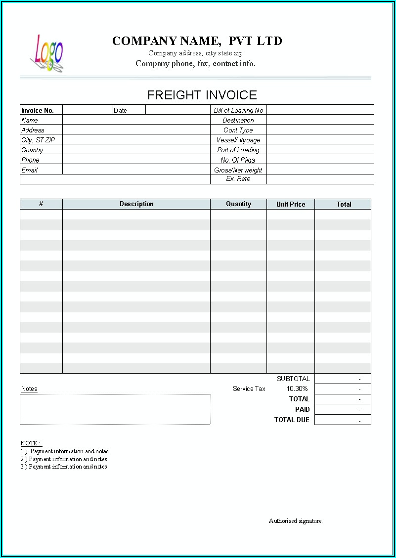Freight Invoice Format In Excel