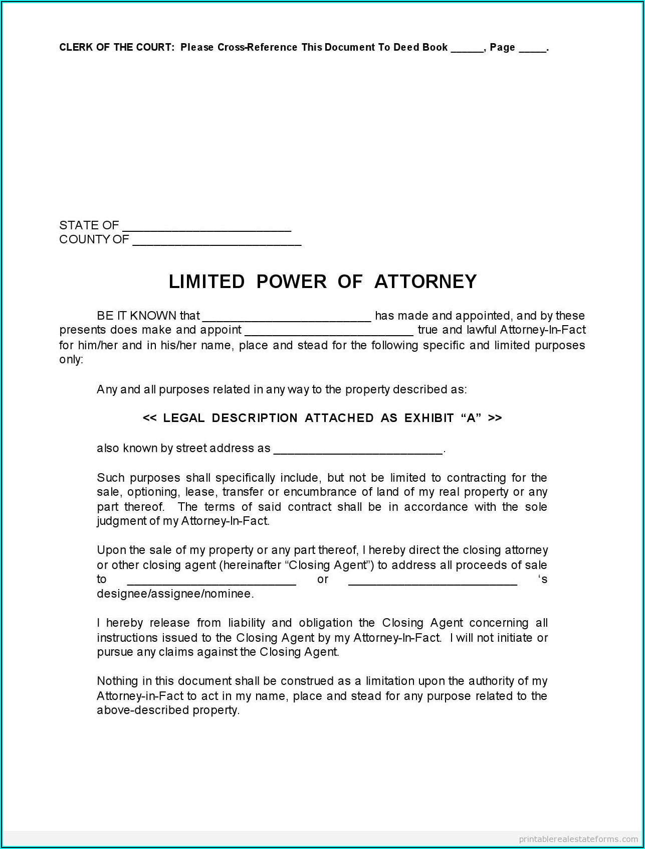 Full Power Of Attorney Template