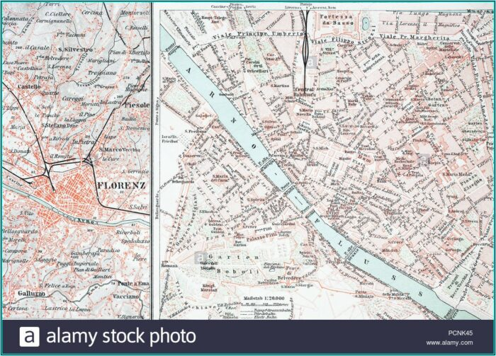 Historical Map Of Florence Italy